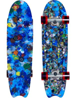 Sustainable skateboard made from blue recycled bottle caps