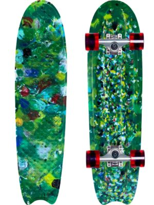 Green skateboard made from recycled bottle caps