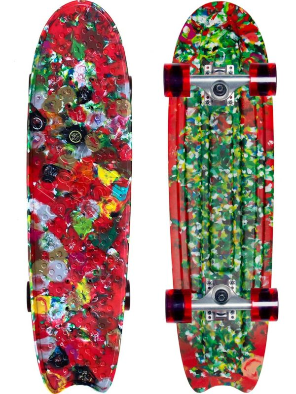 Red plastic skateboard made from recycled bottle caps