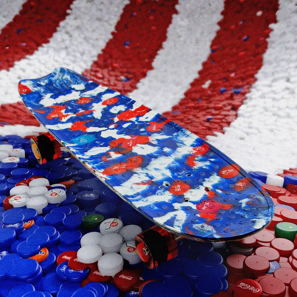 4th of july, limited edition skateboard made from plastic bottle caps